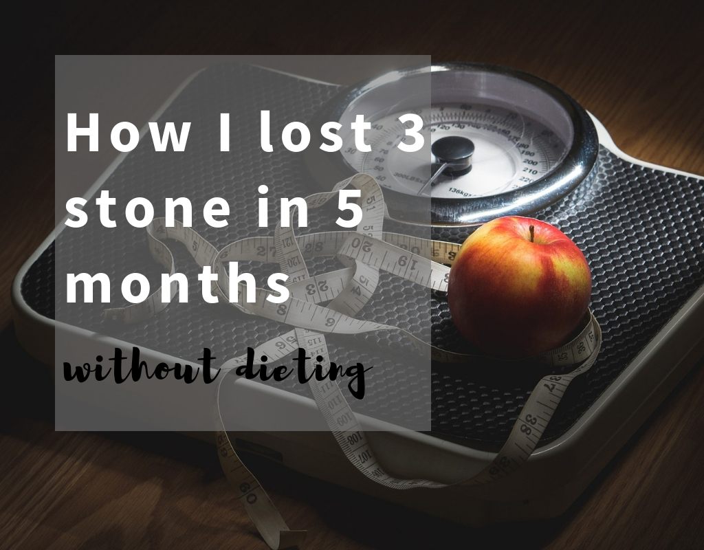 image of scales and measuring tape with text how I lost 3 stone in 5 months - lose weight fast, Base image by TeroVesalainen from Pixabay