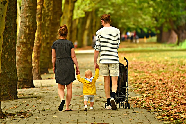 picture of family walk in the park
