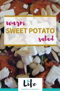 Pin image for Pinterest for Warm sweet potato salad recipe
