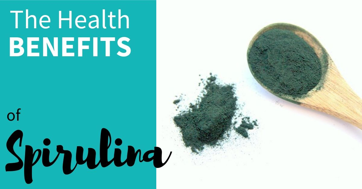 image of spirulina powder with text 'The health benefits of spirulina'