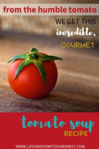 image of a tomato with text reading 'from the humble tomato we get this incredible, gourmet tomato soup recipe by www.lifeandhowtosurviveit.com