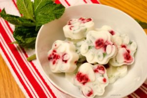 Minty carob liver bonbons for dogs - frozen yogurt topping