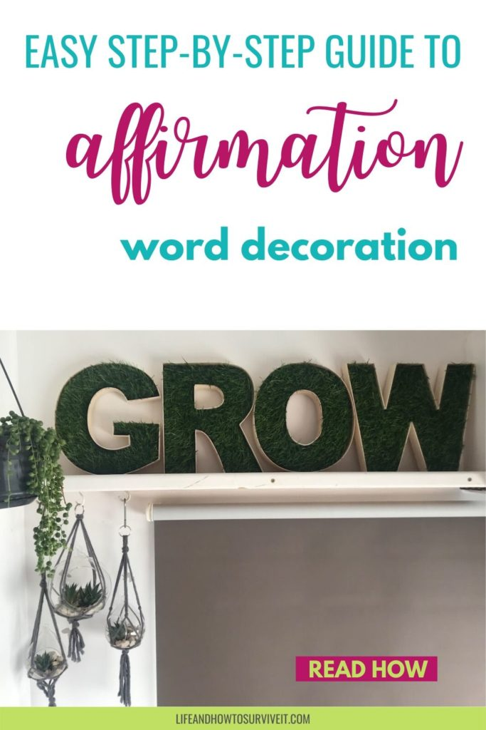 Grow fake grass letters - how to make affirmation word decoration