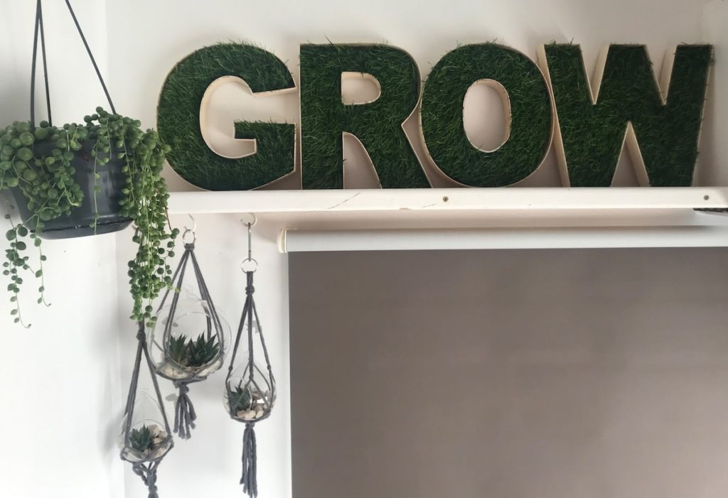 Grow fake grass letters - affirmation word decoration